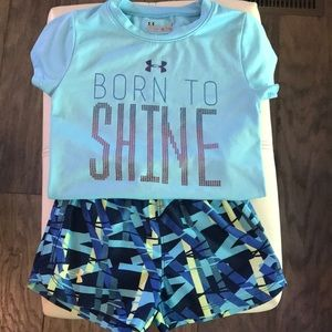 Under armour girls shorts and T-shirt